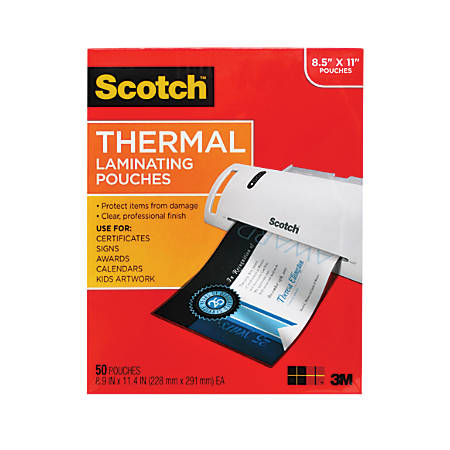 "Scotch Thermal Laminating Pouches, 9"" x 11-1/2"", Clear, Pack Of 50 Pouches"