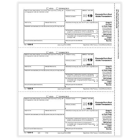 """ComplyRight™ 1099-S Tax Forms, Laser, Copy C, 8-1/2"""" x 11"""", Pack Of 50 Forms"""