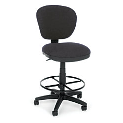 OFM Lite Use Computer Task Stool With Drafting Kit, Gray/Black