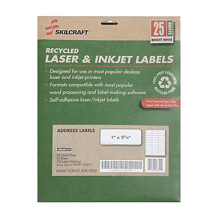 "SKILCRAFT® 100% Recycled White Inkjet/Laser Address Labels, 1"" x 2 5/8"", Box Of 25 Sheets (AbilityOne 7530-01-578-9292)"