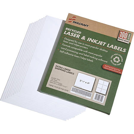 "SKILCRAFT® 100% Recycled White Inkjet/Laser Shipping Labels, 3 1/3"" x 4"", Pack Of 100 (AbilityOne 7530-01-578-9294)"