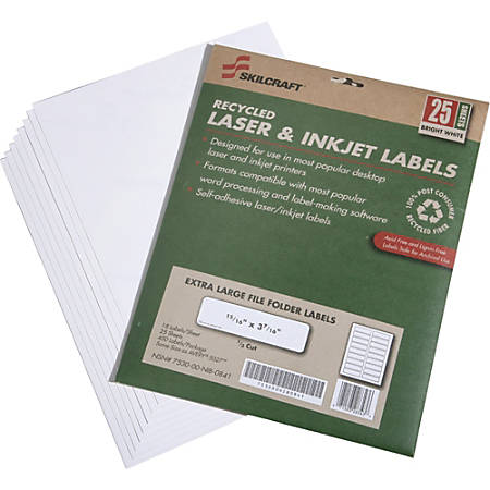 "SKILCRAFT® Extra-Large Color Permanent Inkjet/Laser File Folder Labels, 15/16"" x 3 7/16"", 100% Recycled, White, Box Of 25 (AbilityOne 7530-01-578-9297)"