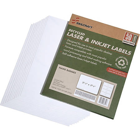 "SKILCRAFT® Laser/Inkjet Name Badge Labels, 2 1/3"" x 3 3/8"", White, Pack Of 50 (AbilityOne 7530-01-578-9299)"