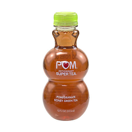 Pom Antioxidant Super Tea Pomegranate Tea, Honey Green Tea, 12 Oz, Pack Of 6 Bottles
