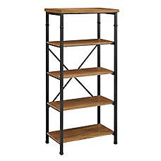 Linon Anson 4 Shelf Bookcase AshBlack