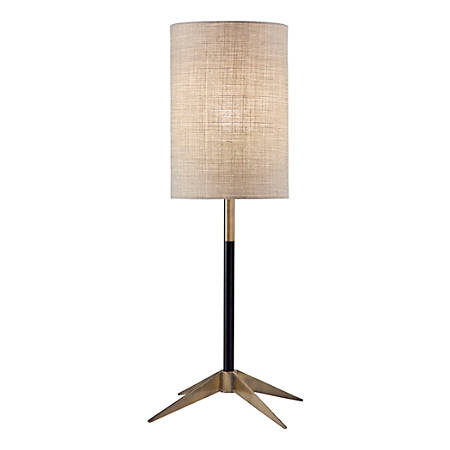 "Adesso® Davis Table Lamp, 26-3/4""H, Natural Shade/Matte-Black And Antique-Brass Base"
