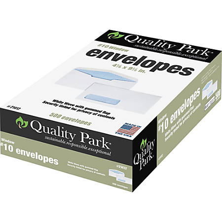 "Quality Park® Single Window Envelopes, #10, 4 1/5"" x 9 1/2"", White, Box Of 500"