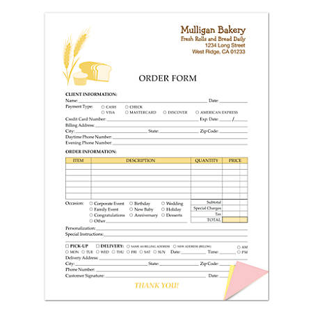"Custom Carbonless Business Forms, Create Your Own, Value Full-Color, 8-1/2"" x 11"", 2-Part, Pack Of 50"