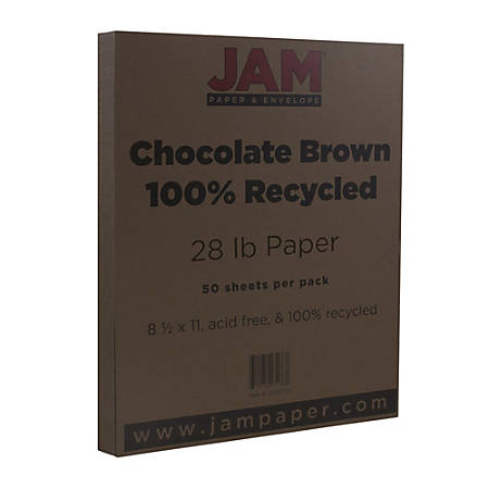JAM Paper® Printer Paper, Letter Size, 28 Lb, Chocolate Brown, Pack Of 50