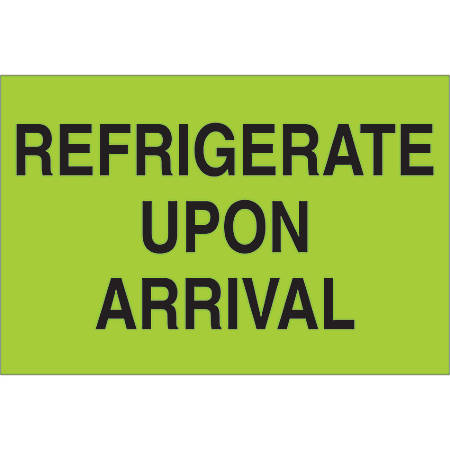 "Tape Logic® Climate Labels, DL1327, Refrigerate Upon Arrival, Rectangle, 2"" x 3"", Fluorescent Green, Roll Of 500"