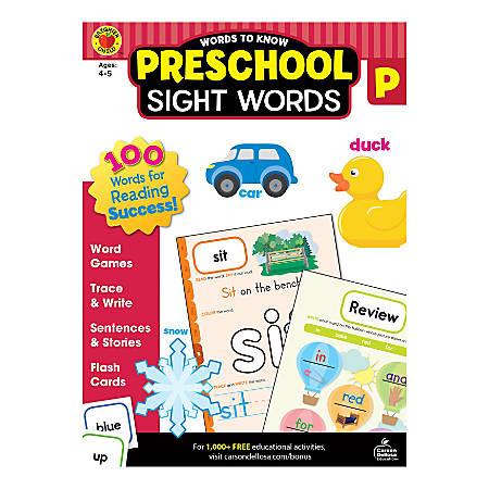 Brighter Child Words To Know Workbook, Sight Words, Preschool