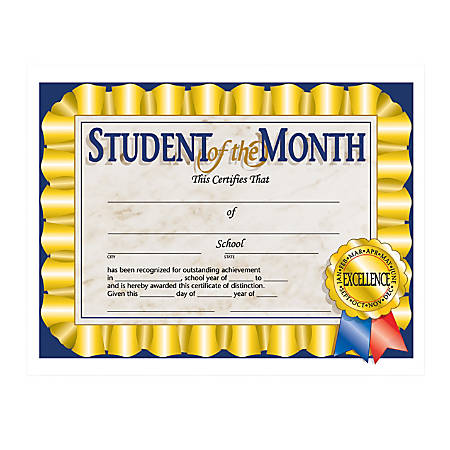 """Hayes Publishing Certificates, Student Of The Month, 8 1/2"""" x 11"""", Multicolor, Pre-K To Grade 12, Pack Of 30"""
