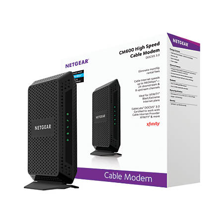 Netgear® DOCSIS 3.0 High-Speed Wired Gigabit Cable Modem, CM600-100NAS