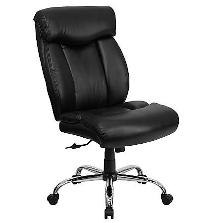 Flash Furniture HERCULES Series Big & Tall High-Back Ergonomic Office Chair With Full Headrest And Chrome Base, Black Leathersoft
