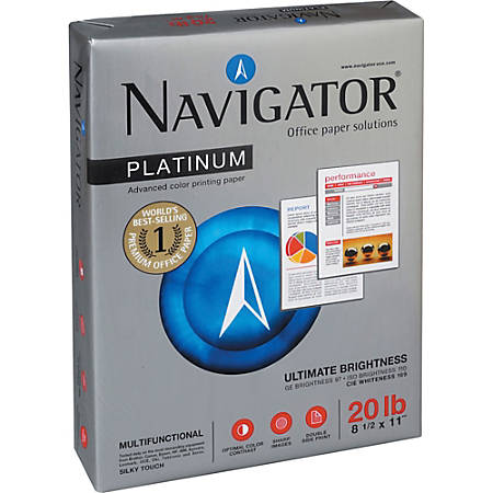 """Navigator Platinum Office Multipurpose Paper - Letter - 8 1/2"""" x 11"""" - 20 lb Basis Weight - 0% Recycled Content - Smooth - 99 Brightness - 5000 / Carton - Bright White"""