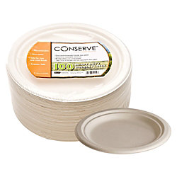 """Conserve® 9"""" Heavy-Duty Sugar Cane Dinner Plates, White, Pack Of 100"""