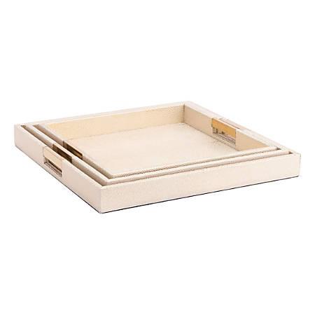 Zuo Modern Camba Lizard Skin Trays, Cream, Set Of 3 Trays