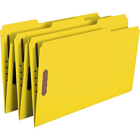Smead® Color Reinforced Tab Fastener Folders, Legal Size, 1/3 Cut, Yellow, Pack Of 50