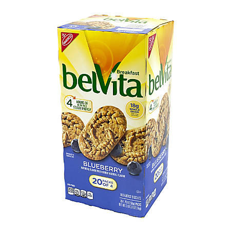 Belvita Blueberry Breakfast Biscuits, Pack Of 4, Box Of 20 Packs