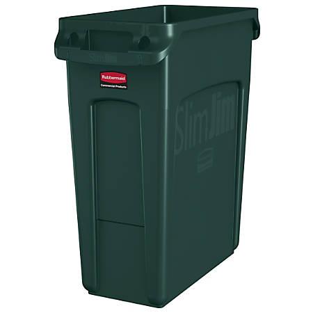 Rubbermaid® Slim Jim Rectangular Polyethylene Vented Waste Receptacle, 16 Gallons, Green