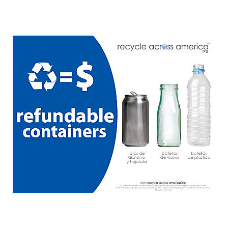 """Recycle Across America Refundables Standardized Recycling Labels, REF-8511, 8 1/2"""" x 11"""", Royal Blue"""