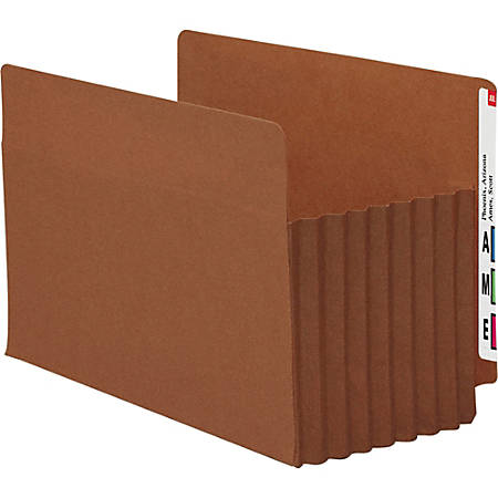 """Smead® TUFF® Pocket File Pockets, End-Tab, Legal Size, 7"""" Expansion, 30% Recycled, Red, Box Of 5"""