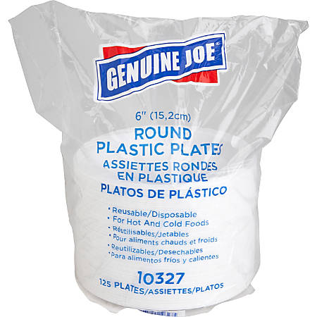 "Genuine Joe Reusable/Disposable 6"" Plastic Plates, White, Pack Of 125"