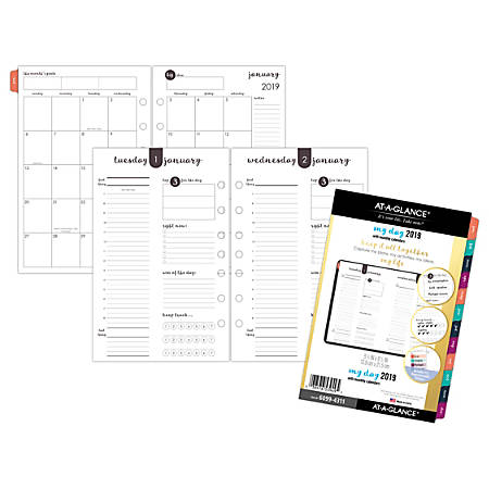 """AT-A-GLANCE® Harmony Daily/Monthly Planner Refill, 5 1/2"""" x 8 1/2"""", January to December 2019"""