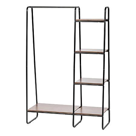 "IRIS Metal Garment Rack With Wood Shelves, 59-1/2""H x 39-13/16""W x 15-3/4""D, Black/Dark Brown"