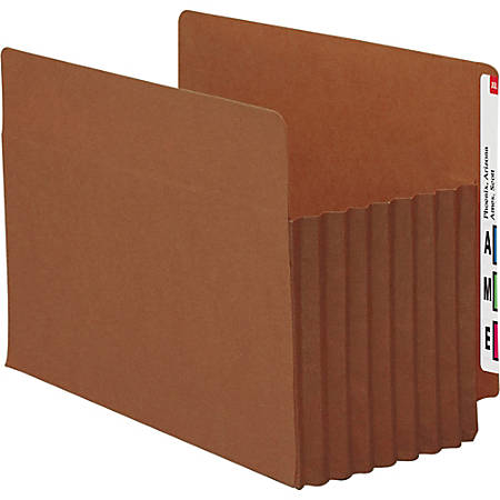 "Smead® TUFF® Pocket File Pockets, End-Tab, Letter Size, 7"" Expansion, 30% Recycled, Red, Box Of 5"
