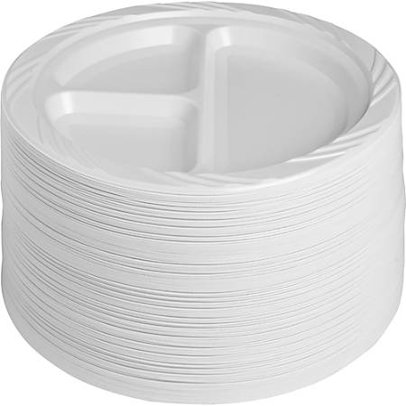 "Genuine Joe Reusable/Disposable 9"" 3-Section Plastic Plates, White, Pack Of 125"