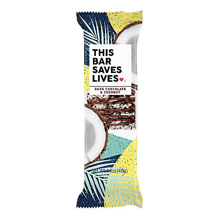 This Bar Saves Lives Dark Chocolate And Coconut Snack Bars, 1.4 Oz, Box Of 12 Bars