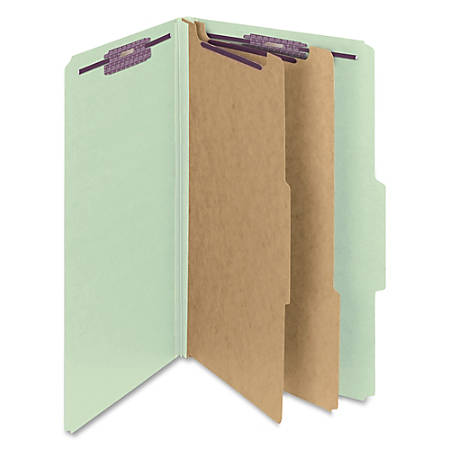 """Smead® Classification Folders, Pressboard With SafeSHIELD® Fasteners, 2 Dividers, 2"""" Expansion, Legal Size, 100% Recycled, Gray/Green, Box Of 10"""