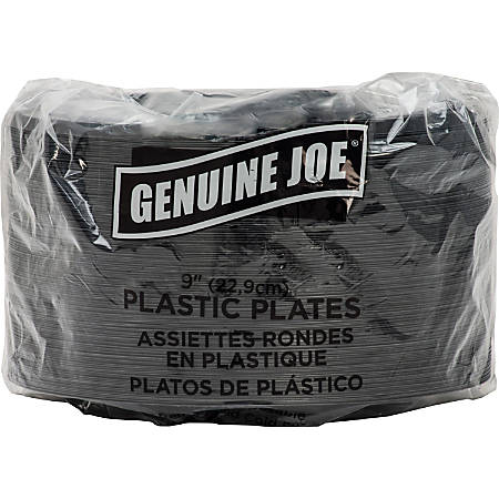 "Genuine Joe 9"" Round Plastic Plates, Black, Pack Of 125"