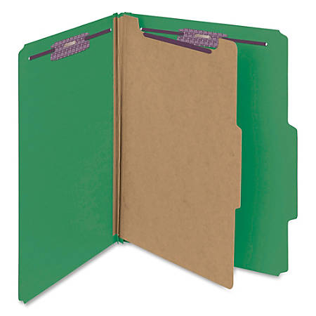 "Smead® Classification Folders, With SafeSHIELD® Coated Fasteners, 1 Divider, 2"" Expansion, Letter Size, 50% Recycled, Green, Box Of 10"