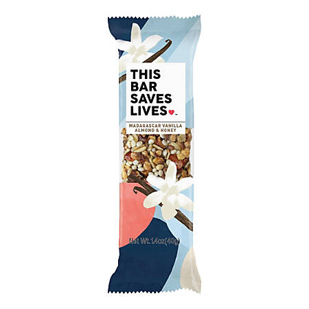 This Bar Saves Lives Vanilla Almond And Honey Snack Bars, 1.4 Oz, Box Of 12 Bars