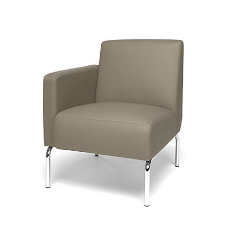 OFM Triumph Series Right Arm Modular Lounge Chair, Taupe/Chrome