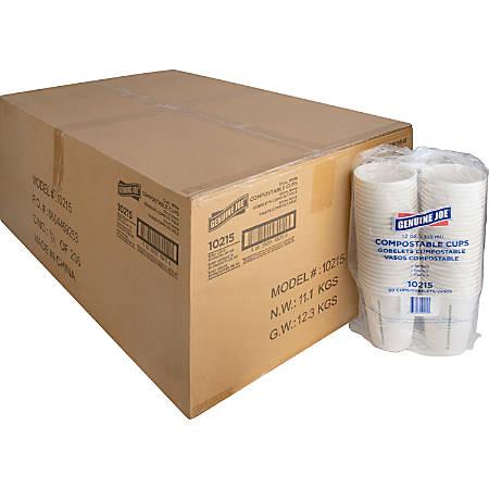 Genuine Joe Eco-friendly Paper Cups - 50 - 12 fl oz - 1000 / Carton - White - Paper