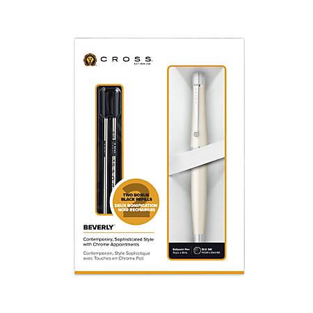 Cross® Beverly Ballpoint Pen, Medium Point, 0.7 mm, White Barrel, Black Ink