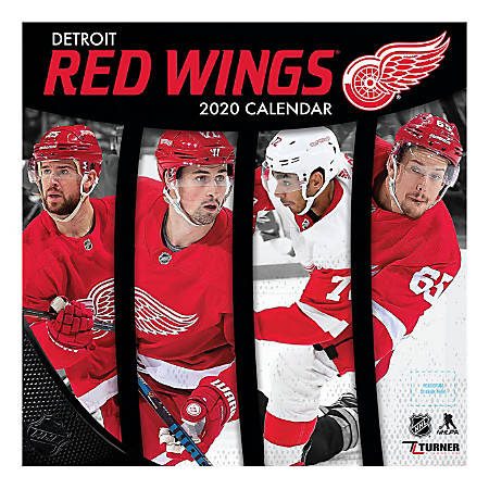 """Turner Licensing Monthly Wall Calendar, 12"""" x 12"""", Detroit Red Wings, 2020"""