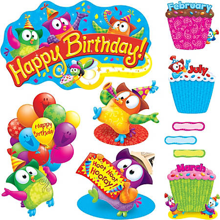 "Trend Owl-Stars! Birthday Bulletin Board Set - Birthday Theme/Subject - 4, 12, 40 (Owl, Cupcake, Label) Shape x 21"" Width - Multicolor - 57 / Set"