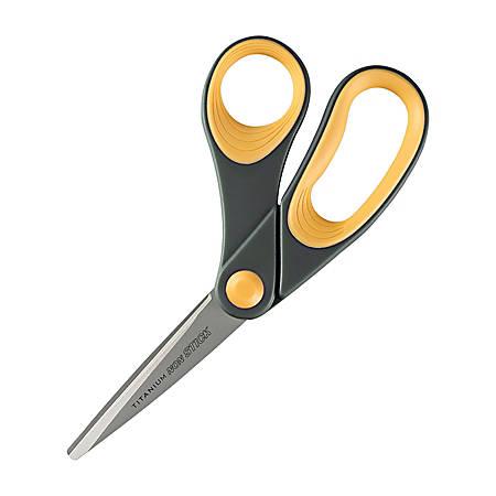 "Westcott® Titanium Bonded Non-Stick Scissors, 8"", Bent, Gray/Yellow"