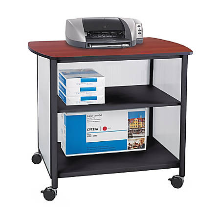 """Safco® Impromptu Deluxe Machine Stand, 31""""H x 34 3/4""""W x 25 1/2""""D, Black/Cherry"""