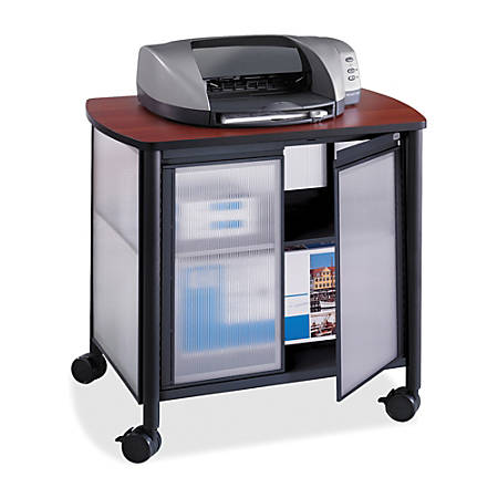 """Safco® Impromptu Machine Stand, Deluxe With Doors, 30 4/5""""H x 34 4/5""""W x 25 1/2""""D, Cherry/Black"""