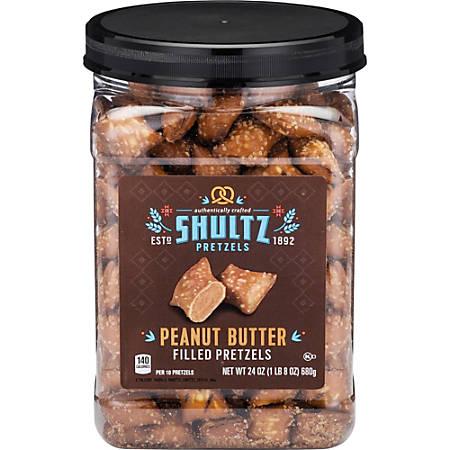 Office Snax Peanut Butter Filled Pretzels - Resealable Tub - Peanut Butter - 1.50 lb - 1 Each
