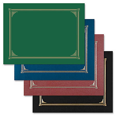 """Geographics Linen Certificate Covers - A4, Letter - 8 19/64"""" x 11 45/64"""", 8 1/2"""" x 11"""", 8"""" x 10"""" Sheet Size - Green - Recycled - 6 / Pack"""