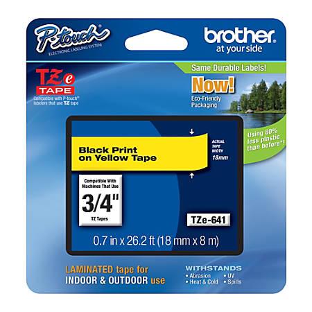 "Brother® TZe-641 Black-On-Yellow Tape, 0.75"" x 26.2'"