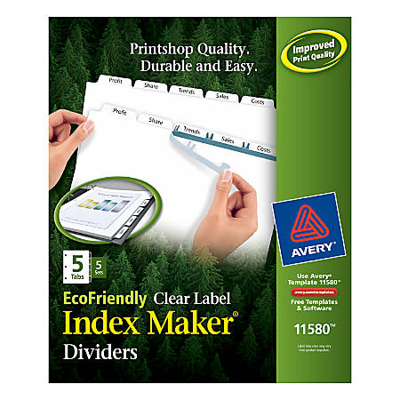 print avery 100percent recycled ecofriendly index maker