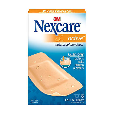 "3M™ Nexcare™ Extra Cushion Knee/Elbow Bandages, 1 7/8"" x 4"", Pack Of 8"