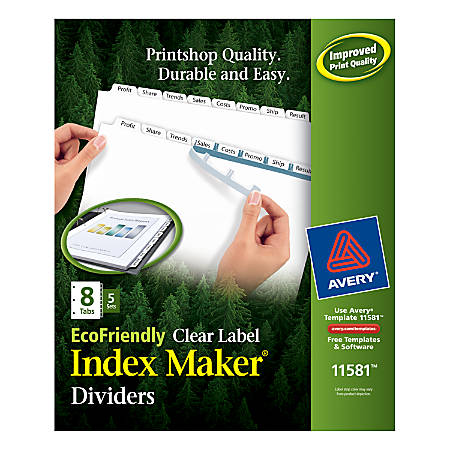 """Avery® 100% Recycled EcoFriendly Index Maker® Clear Label Dividers, 8 1/2"""" x 11"""", White, 8 Tabs Per Set, 5 Sets Per Pack"""